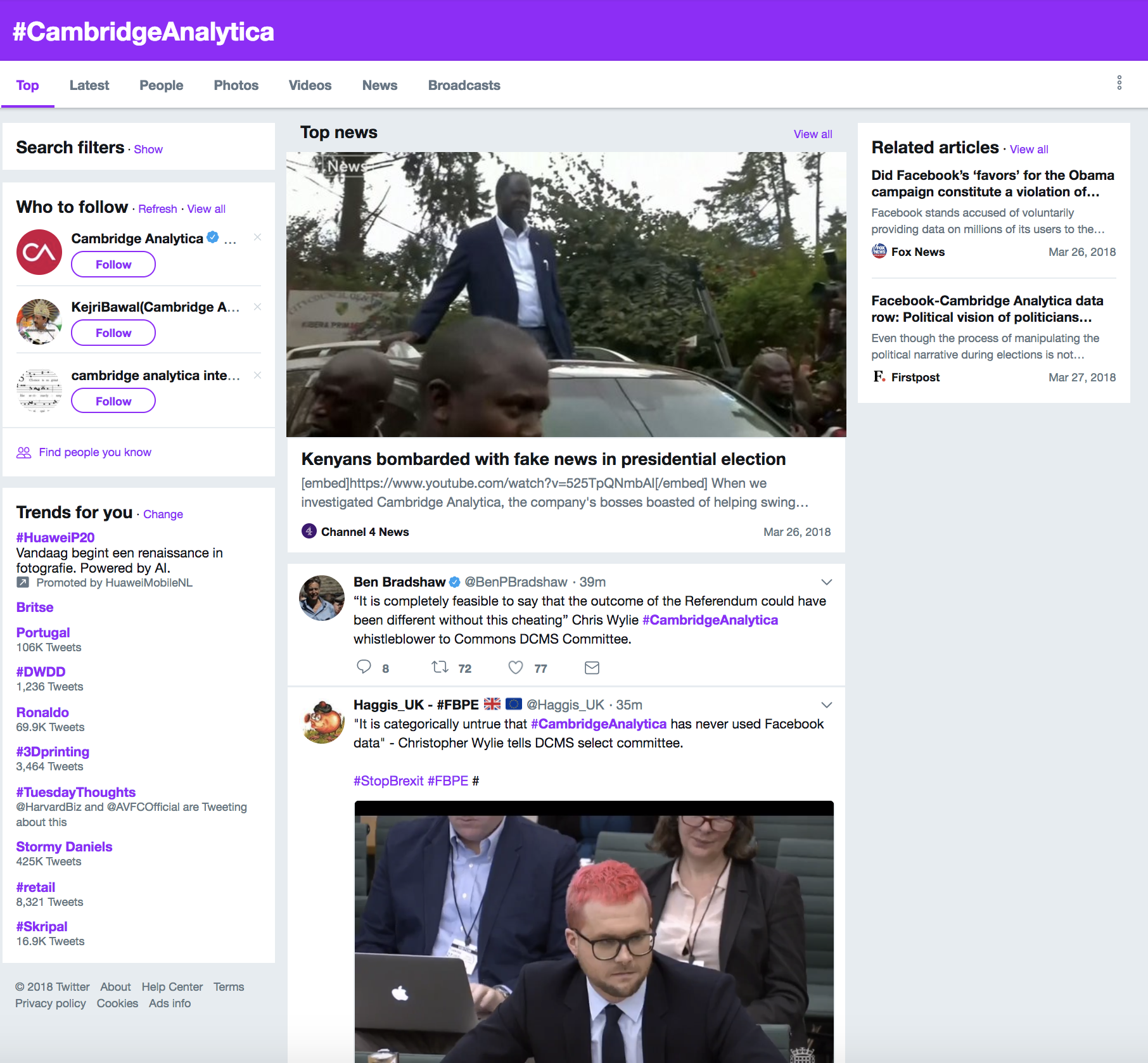Screenshot Twitter; Rolling news updates on #CambridgeAnalytica as it happens on Twitter